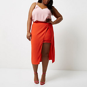 Plus red wrap midi skirt