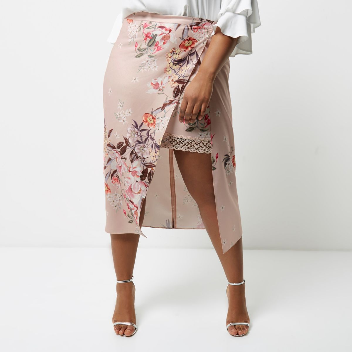 Plus pink floral print wrap midi skirt