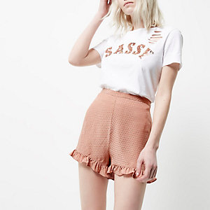 Petite pink frill hem shorts