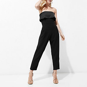 Petite black frill bandeau jumpsuit