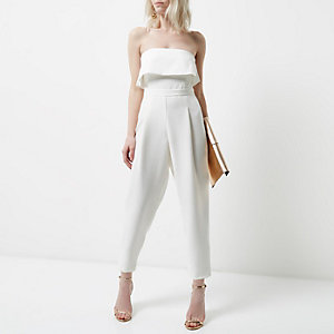 Petite white bandeau frill jumpsuit