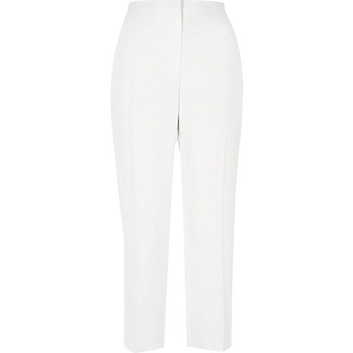 White cropped tapered trousers