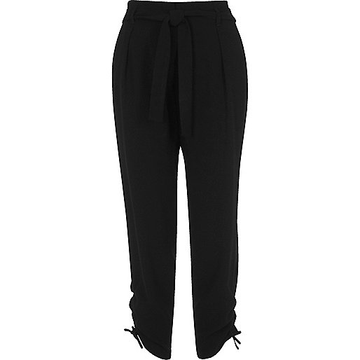 Black tie waist ruched tapered trousers