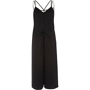 Black strappy cami culotte jumpsuit