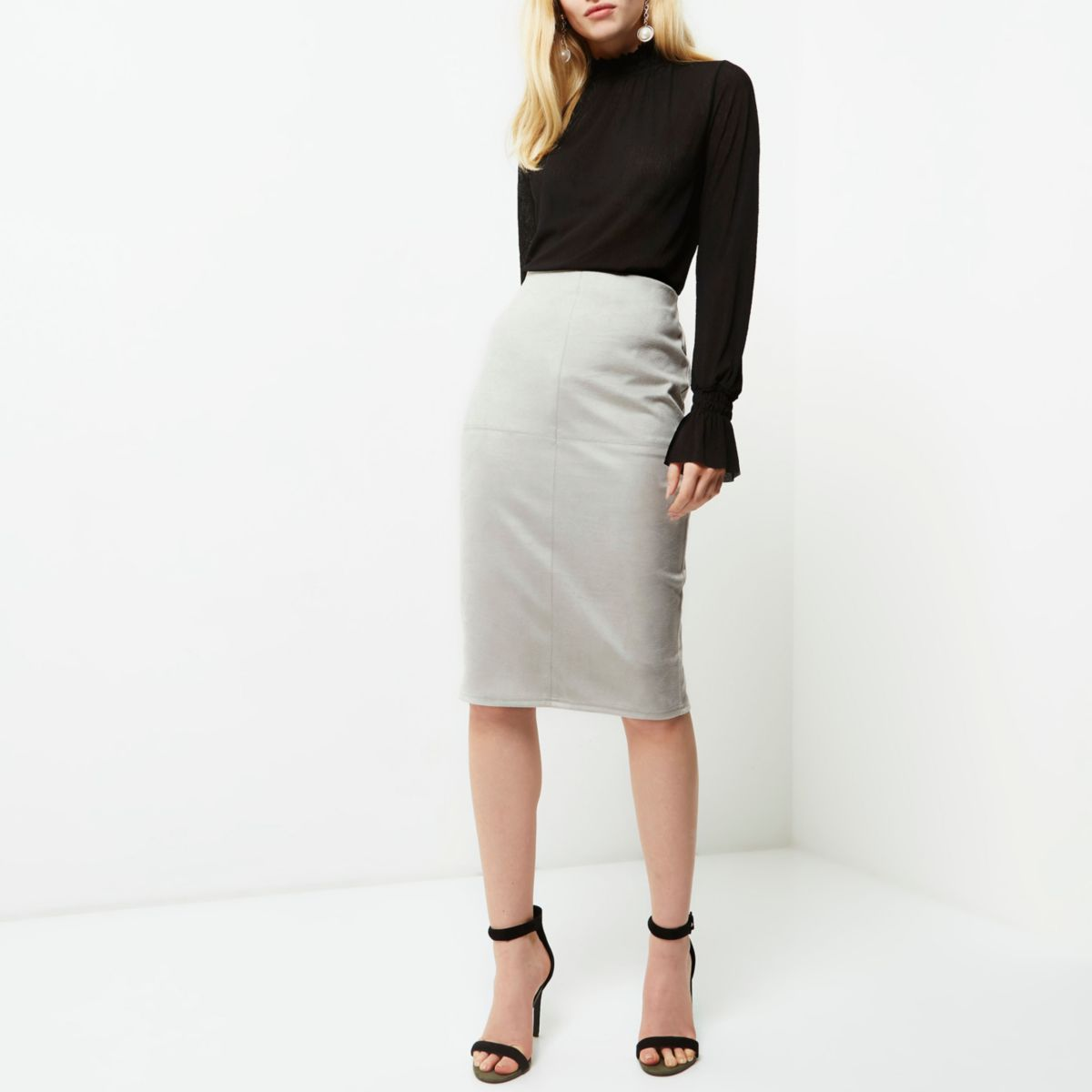 Light grey faux suede pencil skirt