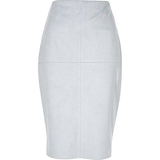 Light blue faux suede pencil skirt