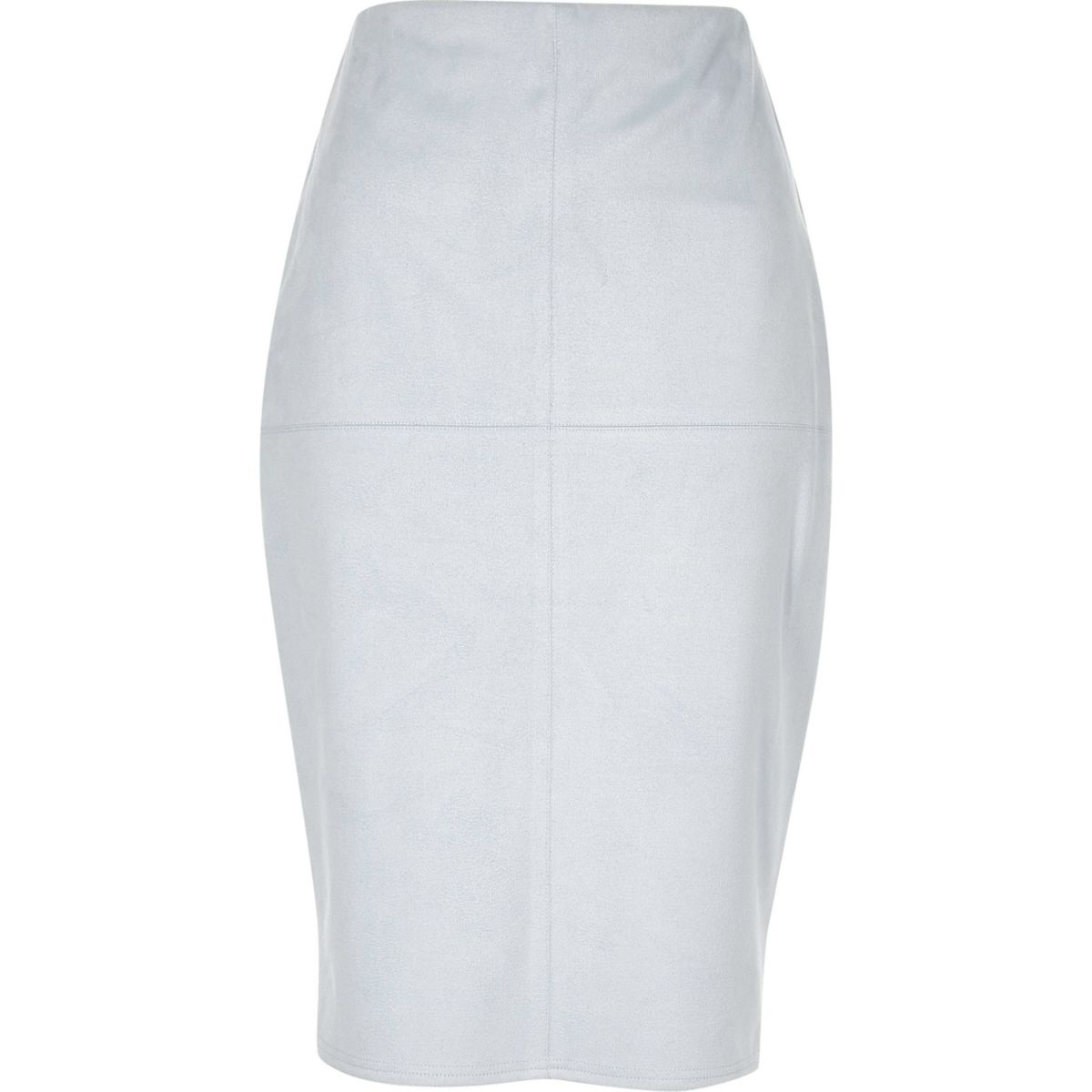 Light blue faux suede pencil skirt