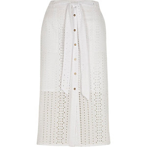 White broderie button front midi skirt