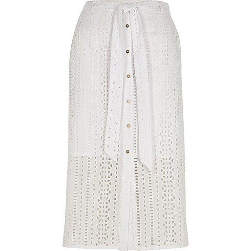 White broderie button front midi skirt