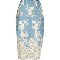 Light blue floral lace pencil skirt