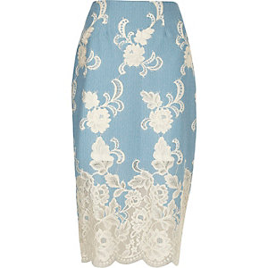 Light blue floral lace pencil skirt
