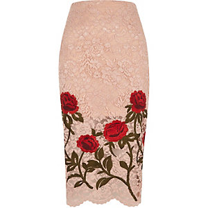 Light pink lace floral embroidered pencil ski