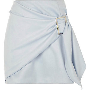 Light blue faux suede wrap front mini skirt