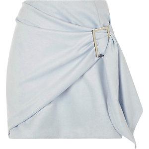 Light blue faux suede wrap front mini skirt