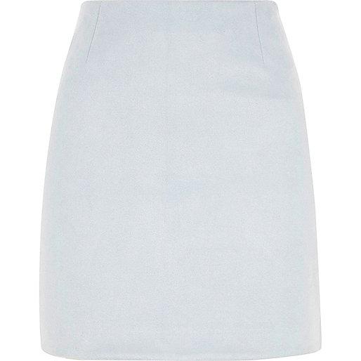 Light blue faux suede mini skirt