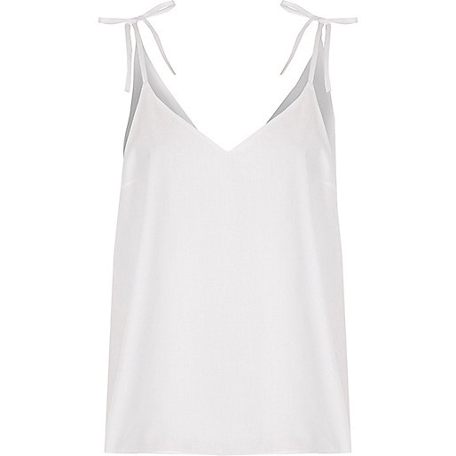 White poplin bow shoulder cami top