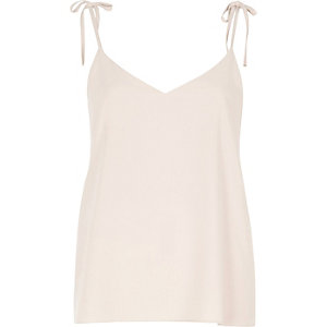 Cream bow shoulder cami top