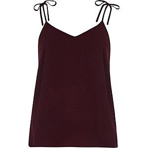 Dark purple bow shoulder cami top