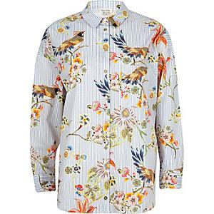 Chemise rayée bleue imprimé oiseaux