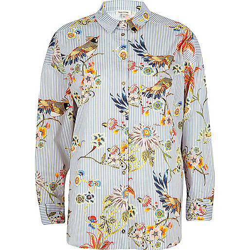 Blue stripe and bird print shirt