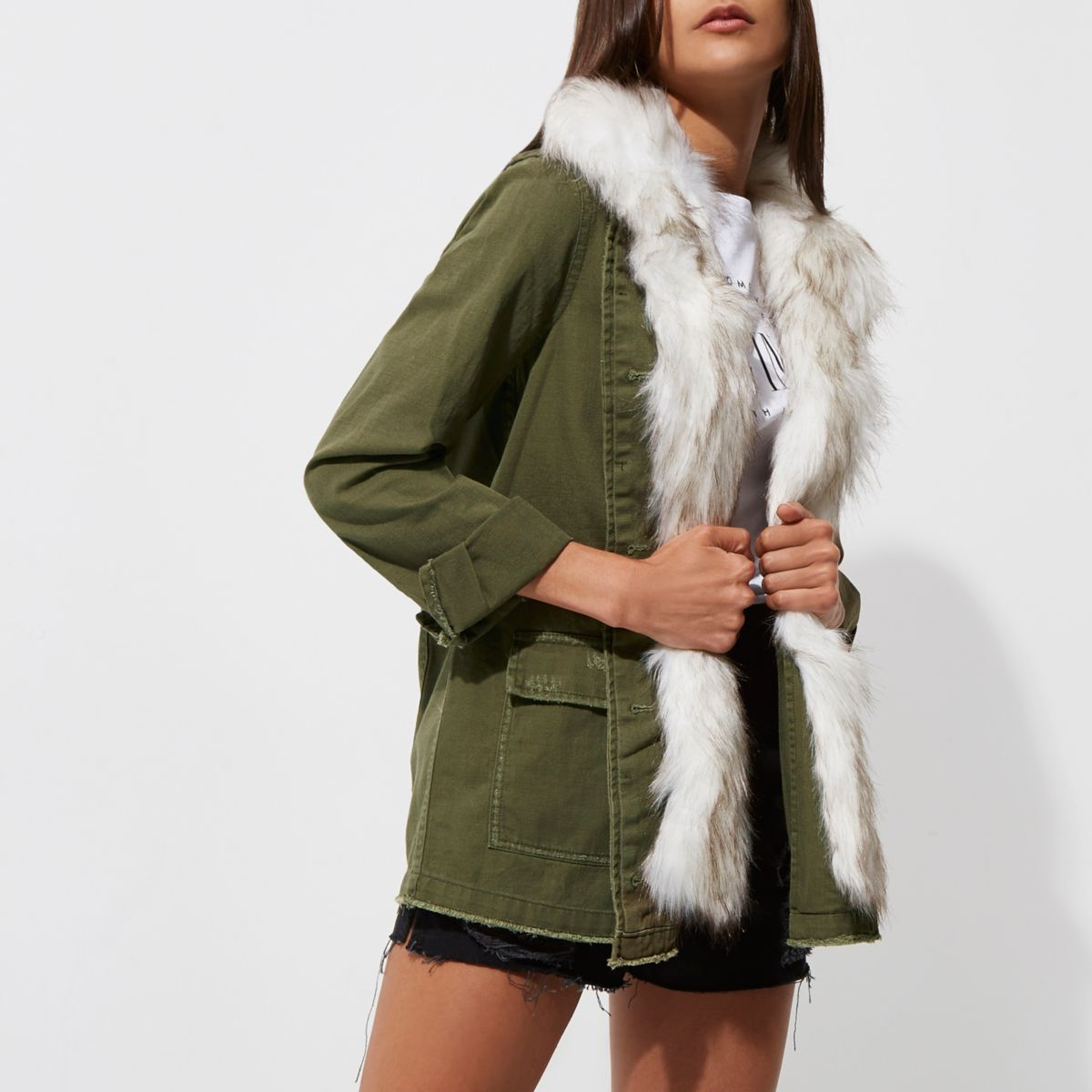 Khaki green faux fur collar army jacket