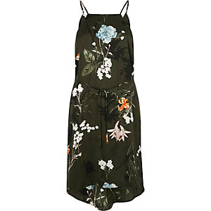 Khaki floral print tie waist midi slip dress