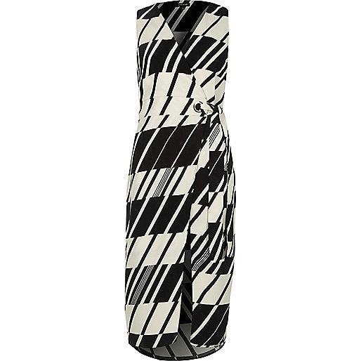 Black check tie waist wrap midi dress