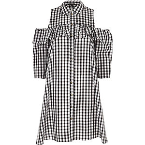 Black gingham cold shoulder frill shirt dress
