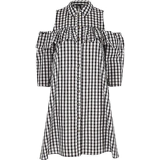 Black gingham cold shoulder frill shirt dress