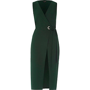 Green tie waist sleeveless wrap midi dress