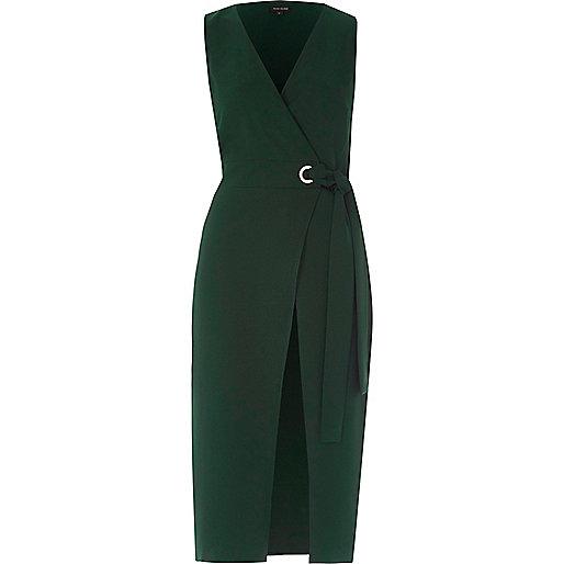Green tie waist sleeveless wrap midi dress