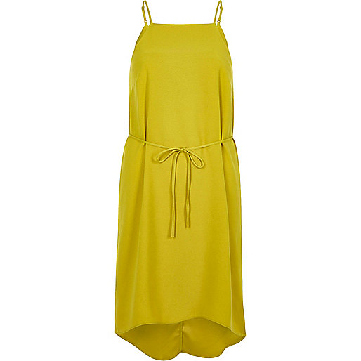 Lime tie waist midi slip dress