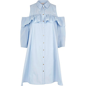 Light blue cold shoulder frill shirt dress