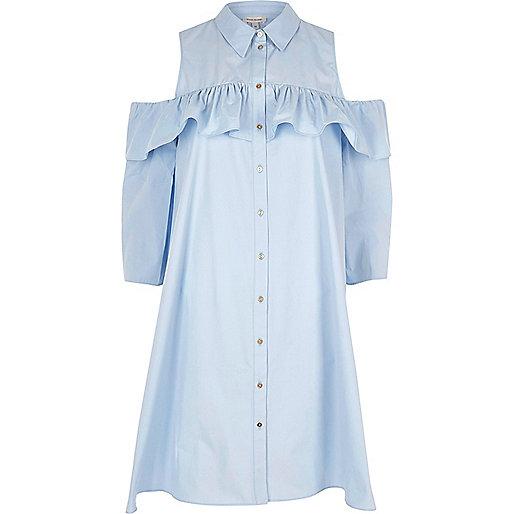 Light blue cold shoulder frill shirt dress