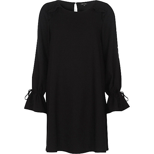 Black frill long sleeve swing dress
