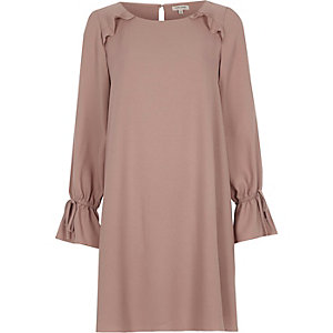 Pink frill long sleeve smock swing dress