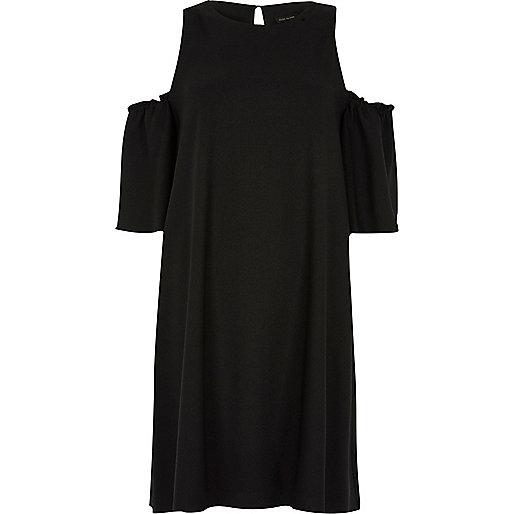 Black cold shoulder frill swing dress