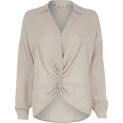 Cream knot front blouse