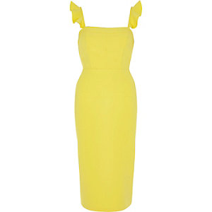 Yellow frill cami bodycon midi dress