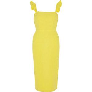 Yellow frill cami bodycon midi dress