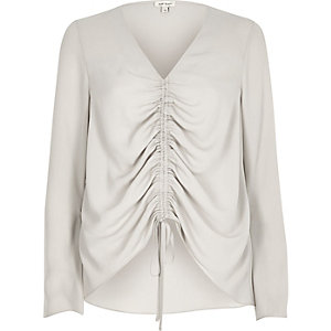 Beige ruched front split sleeve blouse