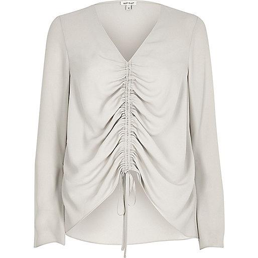 Beige ruched front split sleeve blouse