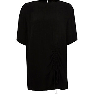 Black ruched drawstring oversized T-shirt