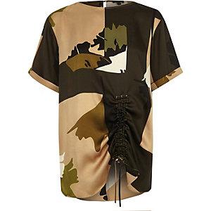 Khaki camo print ruched oversized T-shirt