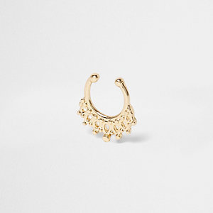 Gold tone filigree septum