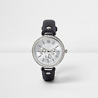 Black diamante encrusted watch