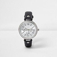 Black rhinestone encrusted watch