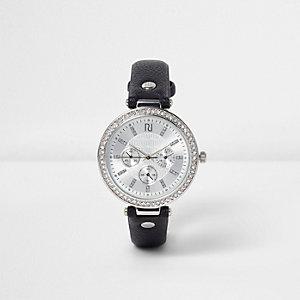 Schwarze, strassverzierte Armbanduhr