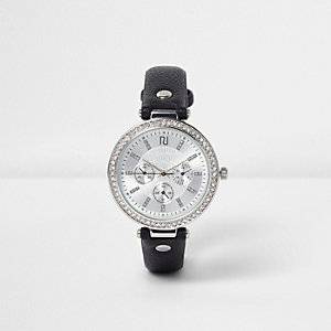 Black rhinestone encrusted watch