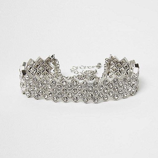 Silver tone diamante choker
